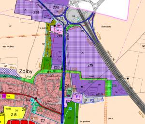 dotčený pozemek v územním plánu Zdiby